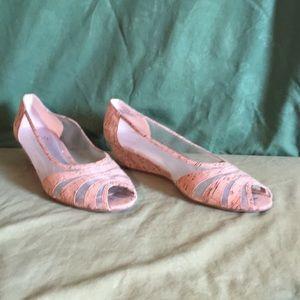 Impo cork low heel wedges, size 10m